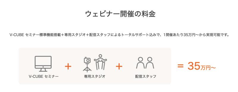 V-CUBEウェビナーの価格は35万円〜【専用スタジオ・配信スタッフ込】